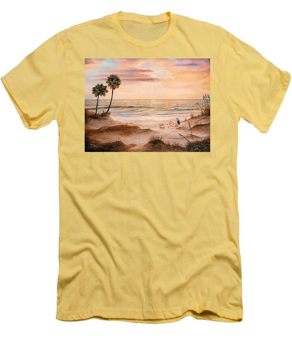 Beach Men's T-Shirt (Athletic Fit) featuring the painting Beachcombers by Duane R Probus