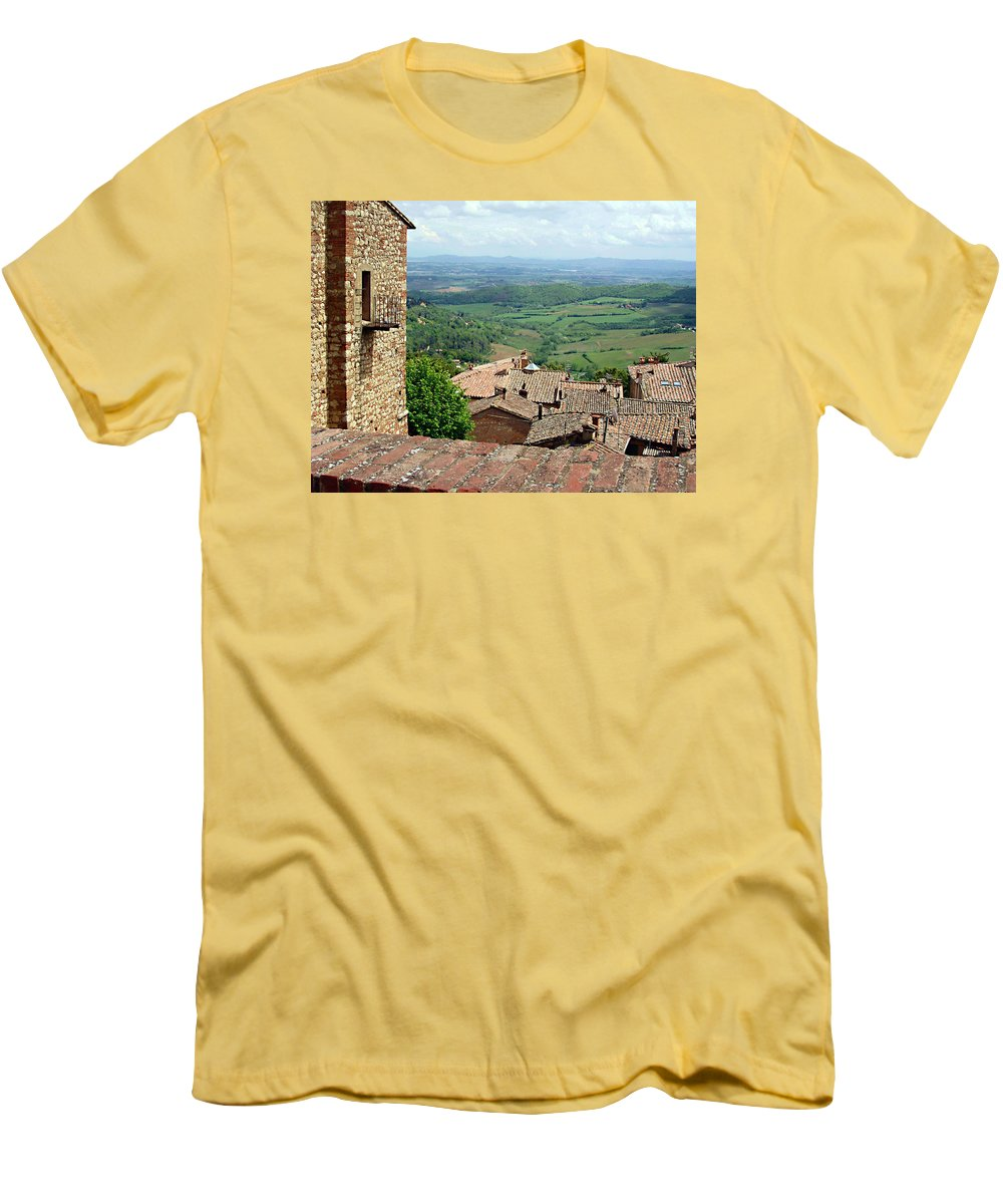 Beyond The Rooftops Men's T-Shirt (Athletic Fit) featuring the photograph Beyond The Rooftops 1 by Ellen Henneke