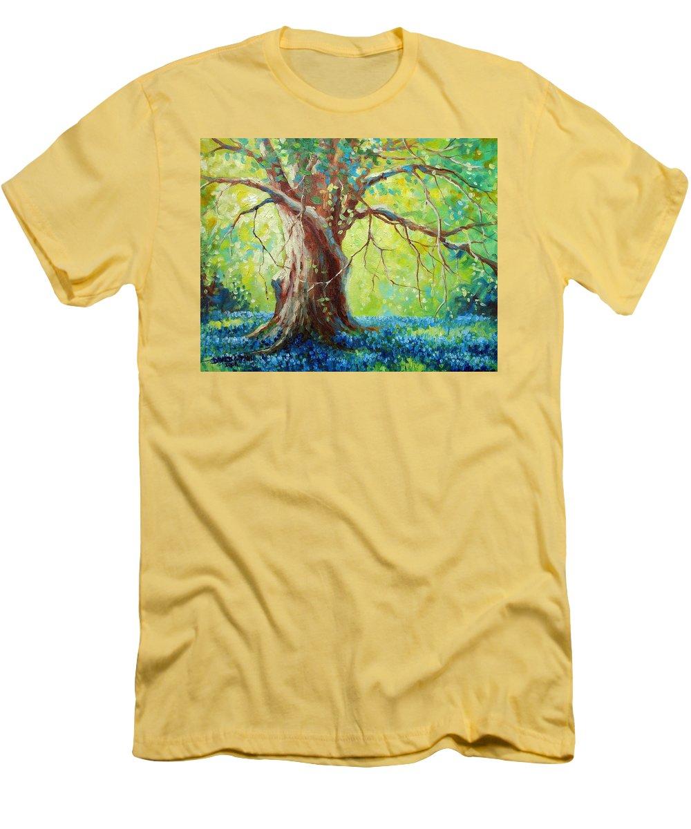 Bluebonnets Men's T-Shirt (Athletic Fit) featuring the painting Bluebonnets Under The Oak by David G Paul