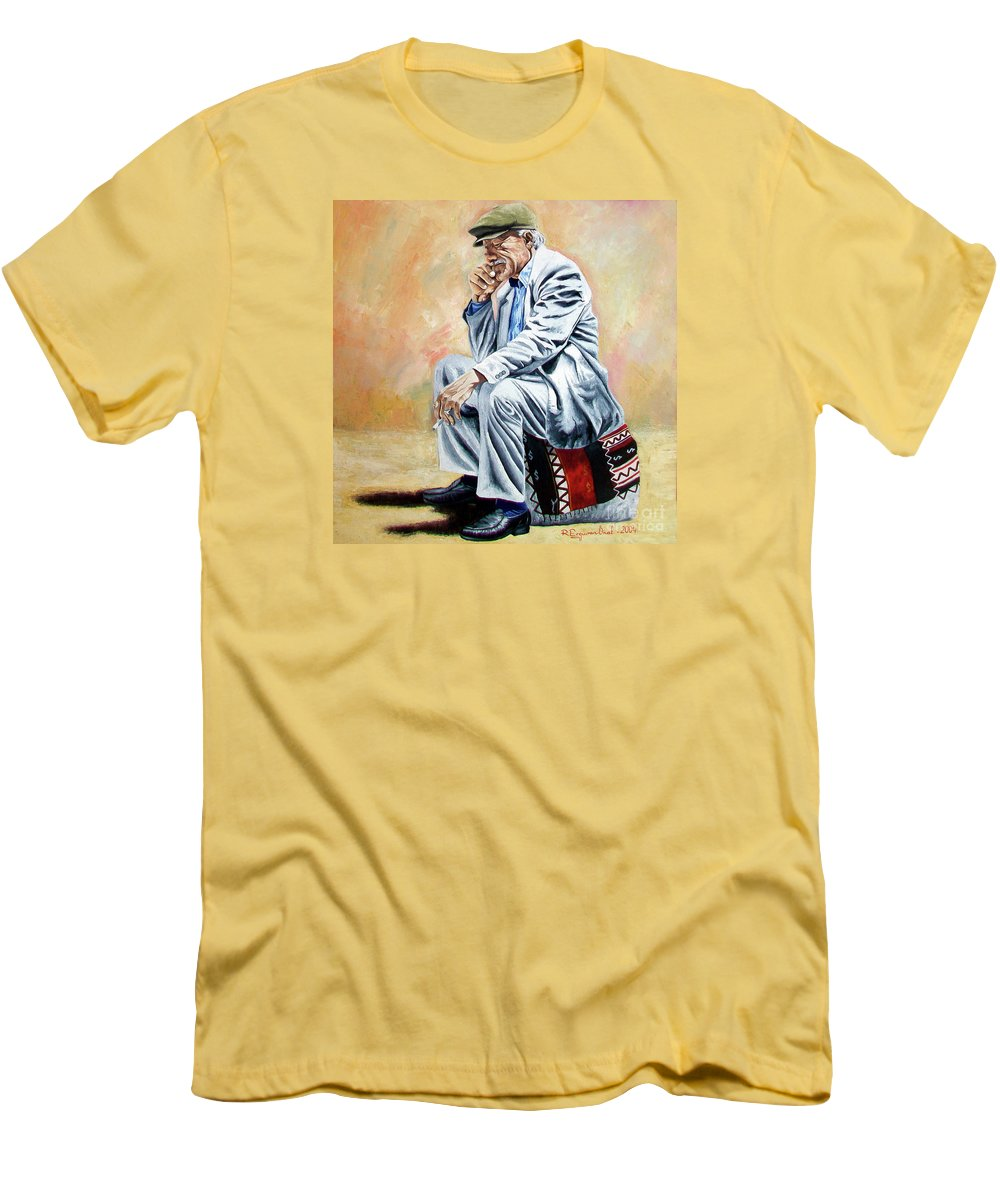 Figurative Men's T-Shirt (Athletic Fit) featuring the painting Break For Smoking - Apeadero Para Fumar by Rezzan Erguvan-Onal