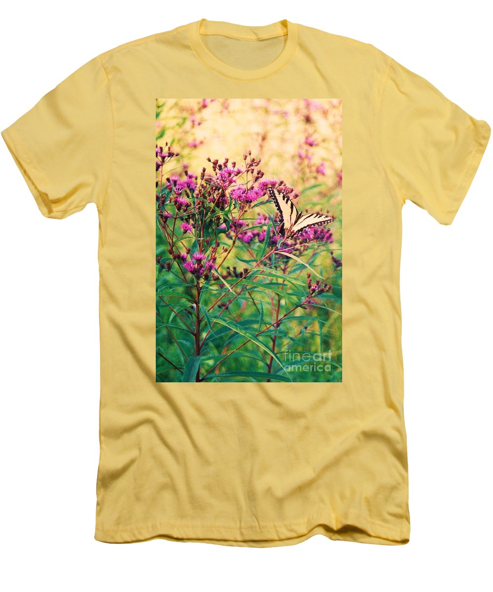 Floral Men's T-Shirt (Athletic Fit) featuring the painting Butterfly Wildflower by Eric Schiabor