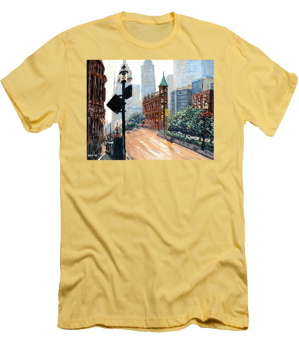 Toronto Men's T-Shirt (Athletic Fit) featuring the painting Front And Church by Ian MacDonald