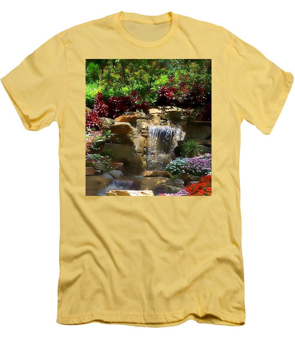 Garden Men's T-Shirt (Athletic Fit) featuring the photograph Garden Waterfalls by Pharris Art