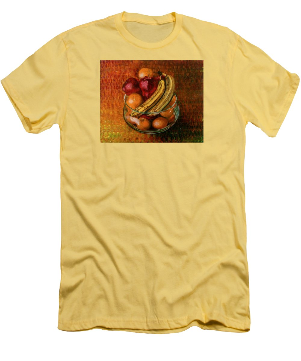 Still Life Men's T-Shirt (Athletic Fit) featuring the painting Glass Bowl Of Fruit by Sean Connolly