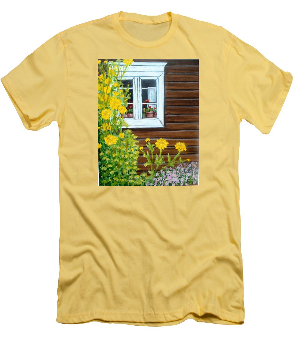 Window Men's T-Shirt (Athletic Fit) featuring the painting Happy Homestead by Laurie Morgan