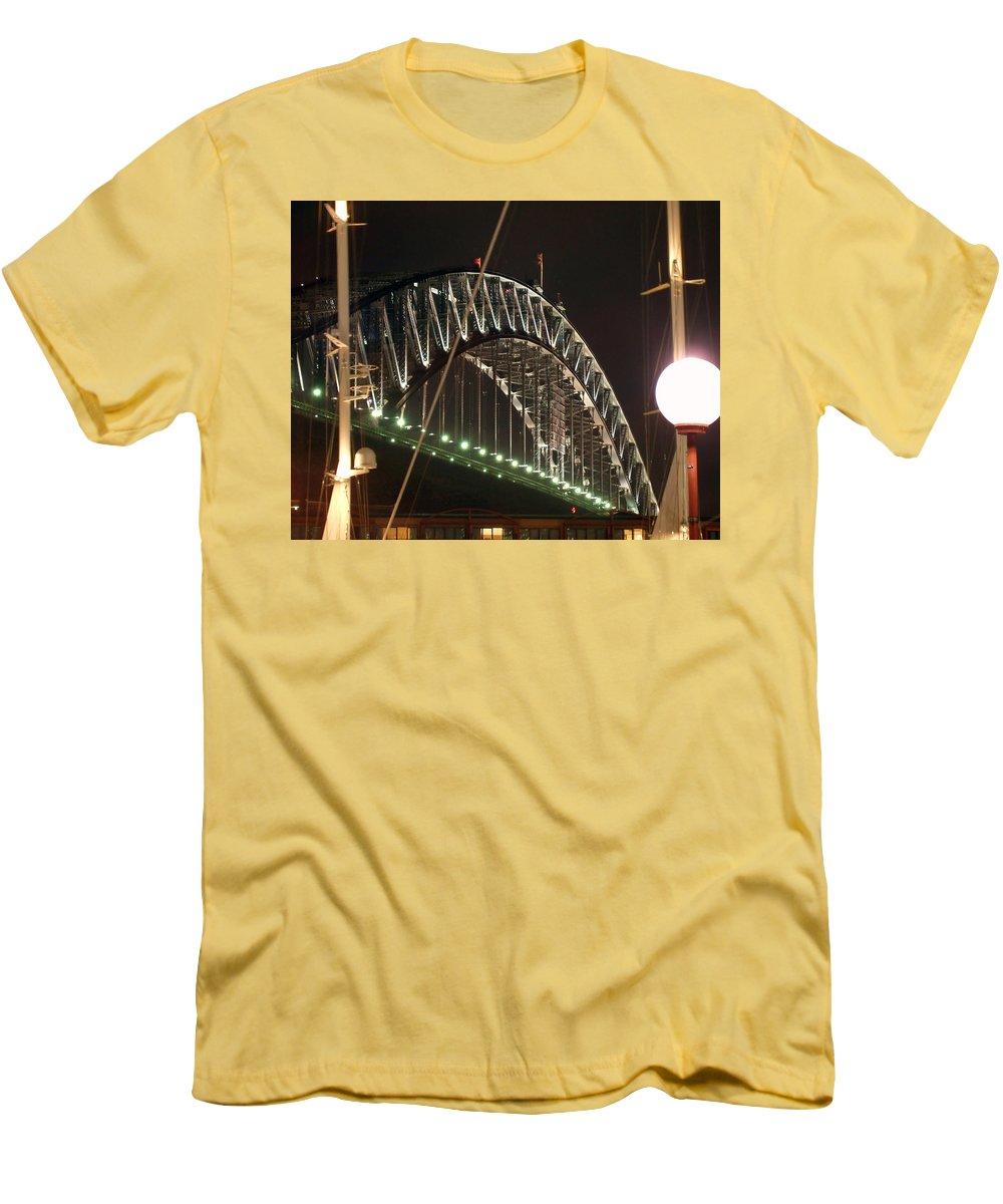 Harbor Bridge Men's T-Shirt (Athletic Fit) featuring the photograph Harbor Bridge by Ellen Henneke