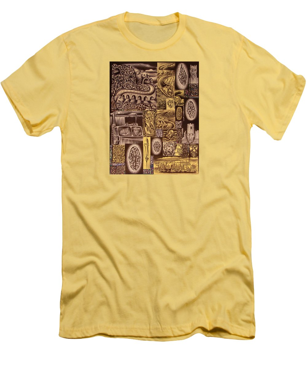 Pen Men's T-Shirt (Athletic Fit) featuring the drawing He Always Travels Alone by Stuart Swartz