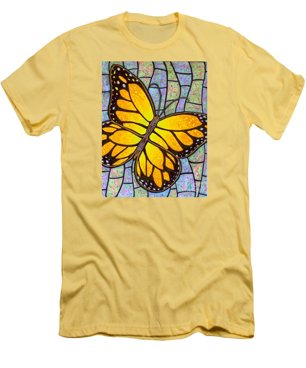 Butterflies Men's T-Shirt (Athletic Fit) featuring the painting Karens Butterfly by Jim Harris