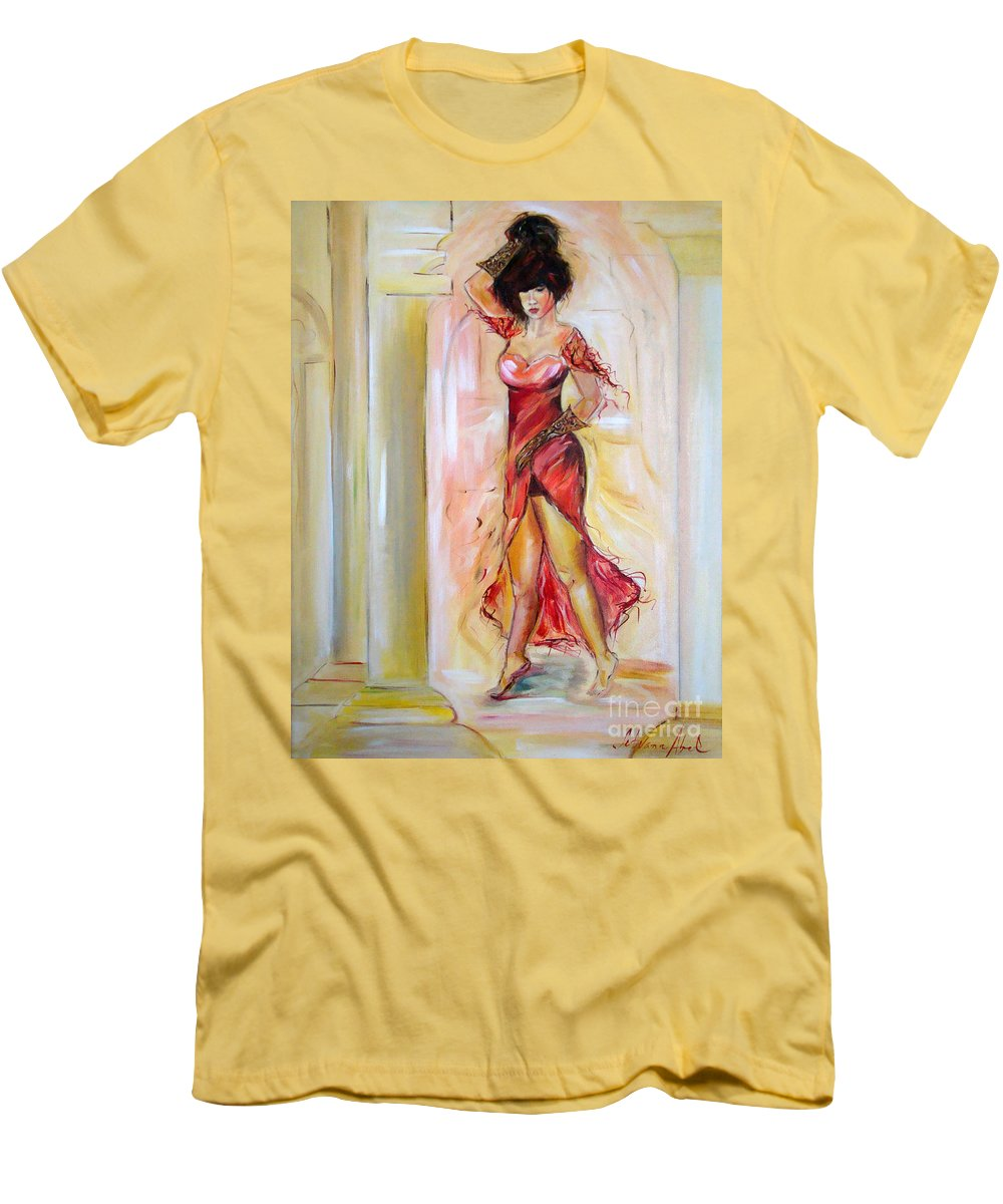 Contemporary Art Men's T-Shirt (Athletic Fit) featuring the painting Lady In Red by Silvana Abel
