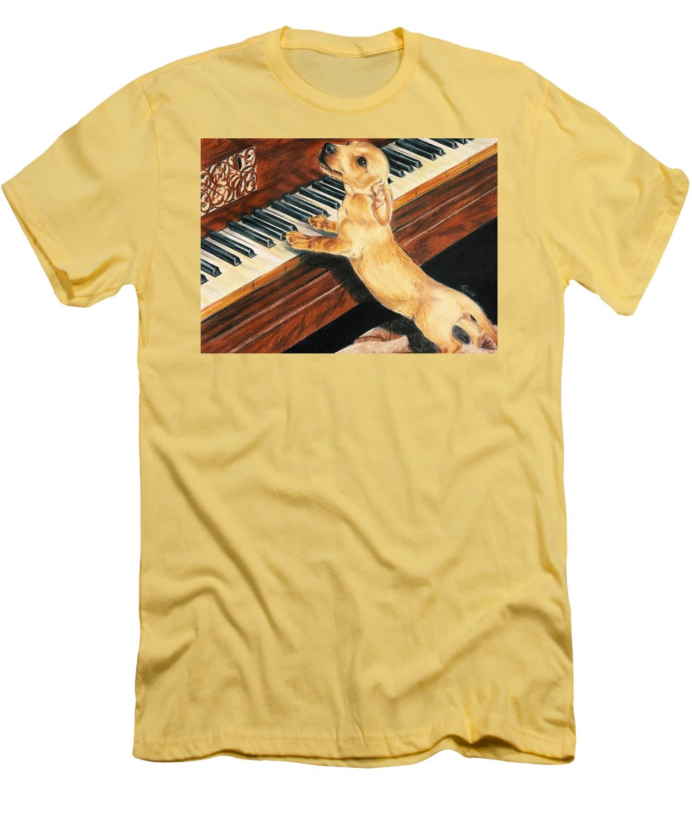 Purebred Dog Men's T-Shirt (Athletic Fit) featuring the drawing Mozart's Apprentice by Barbara Keith