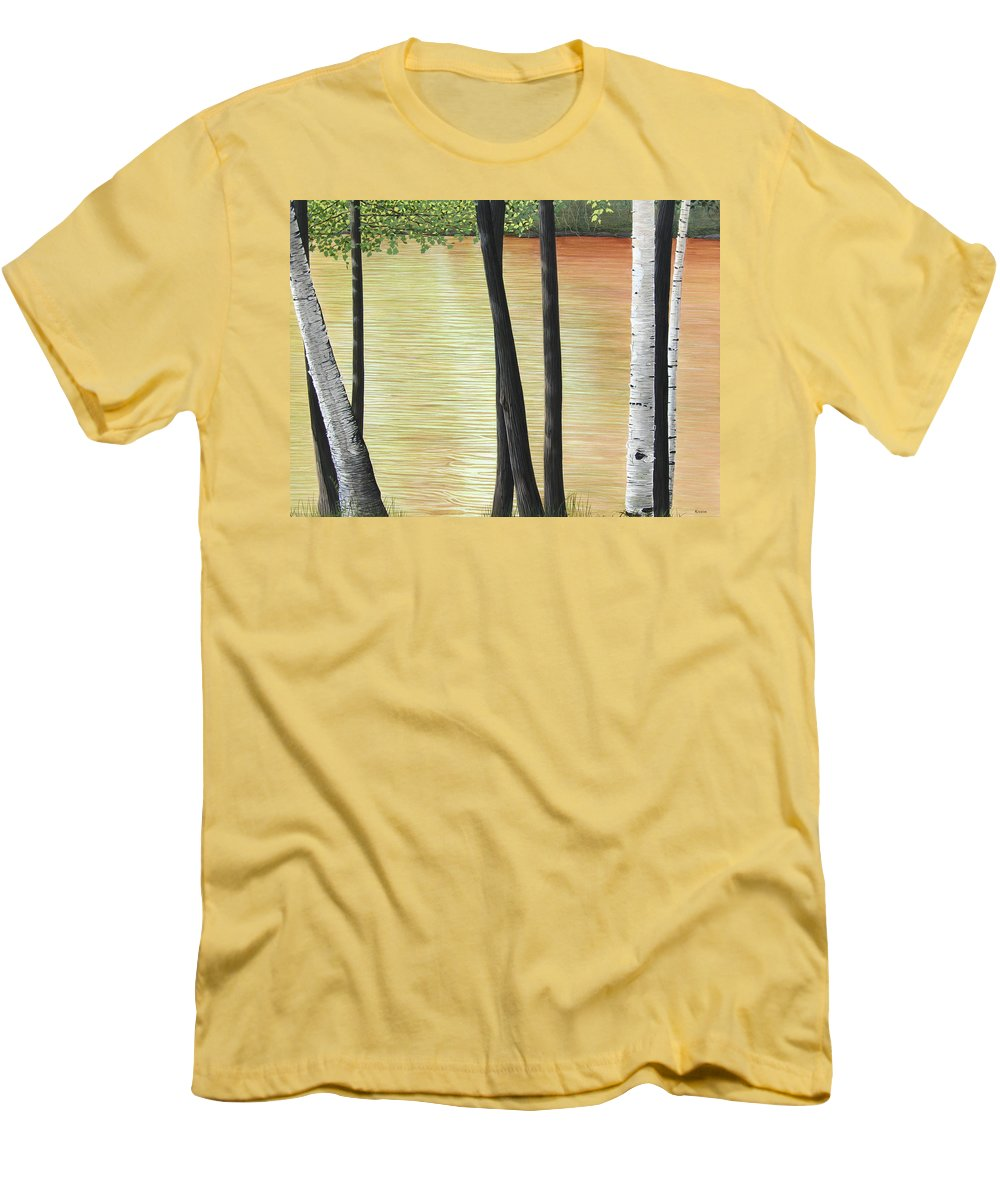 Landscape Men's T-Shirt (Athletic Fit) featuring the painting Muskoka Lagoon by Kenneth M Kirsch