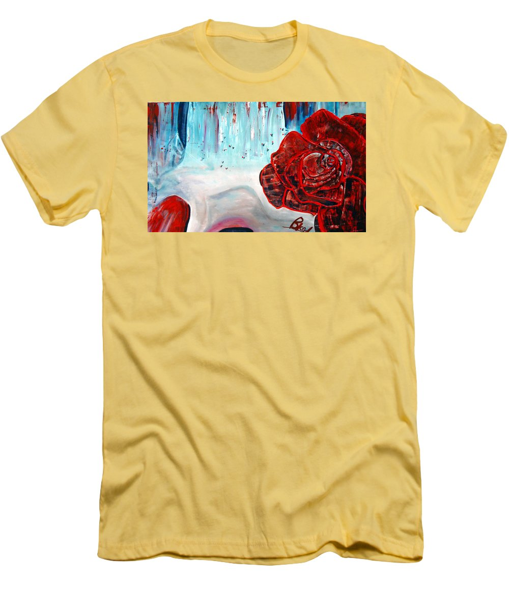 Landscape Men's T-Shirt (Athletic Fit) featuring the painting Op And Rose by Peggy Blood