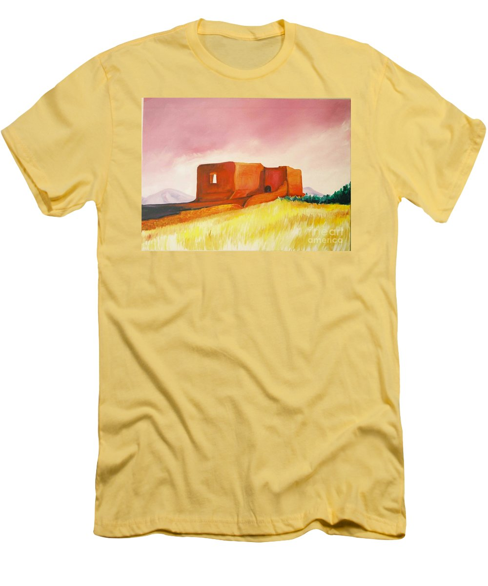 Western Landscapes Men's T-Shirt (Athletic Fit) featuring the painting Pecos Mission Nm by Eric Schiabor