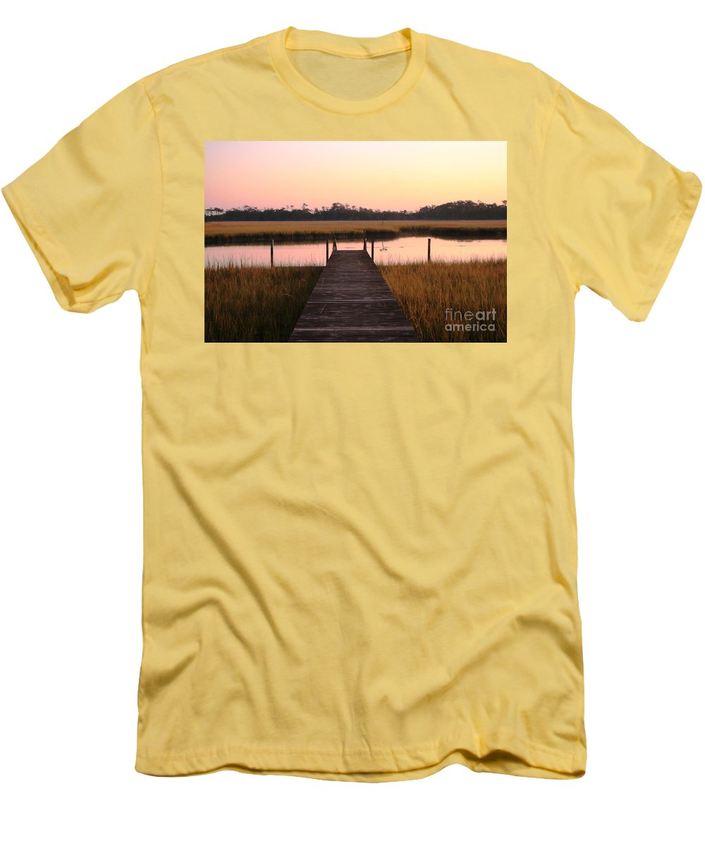 Pink Men's T-Shirt (Athletic Fit) featuring the photograph Pink And Orange Morning On The Marsh by Nadine Rippelmeyer