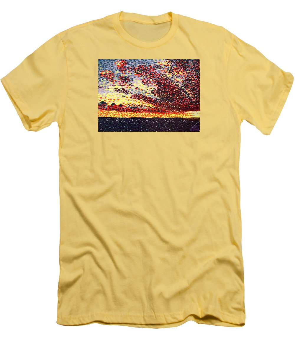 Plum Clouds Men's T-Shirt (Athletic Fit) featuring the painting Plum Clouds by Alan Hogan