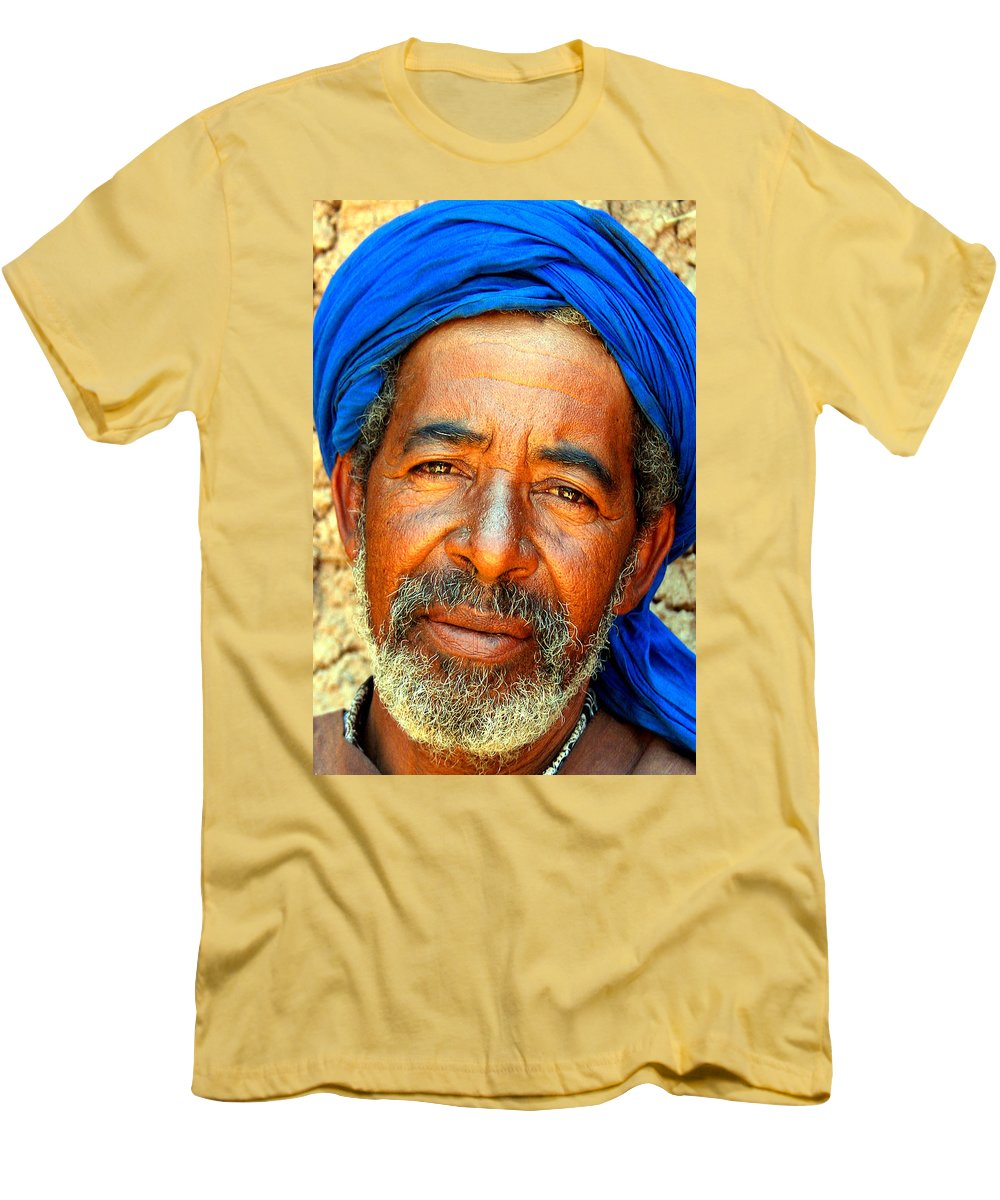 Berber Man Men's T-Shirt (Athletic Fit) featuring the photograph Portrait Of A Berber Man by Ralph A Ledergerber-Photography