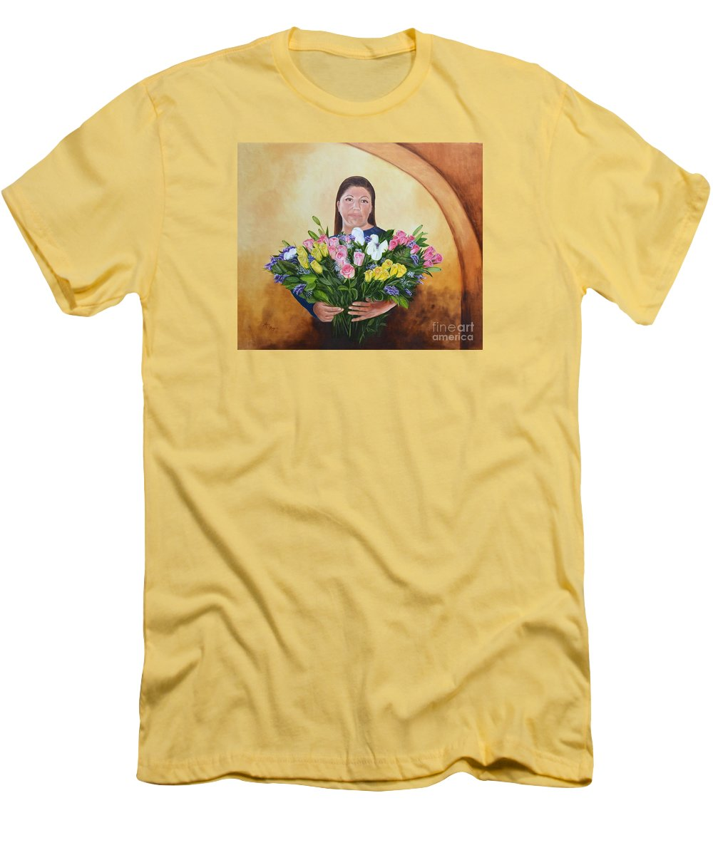 People Men's T-Shirt (Athletic Fit) featuring the painting Rosa's Roses by Mary Rogers