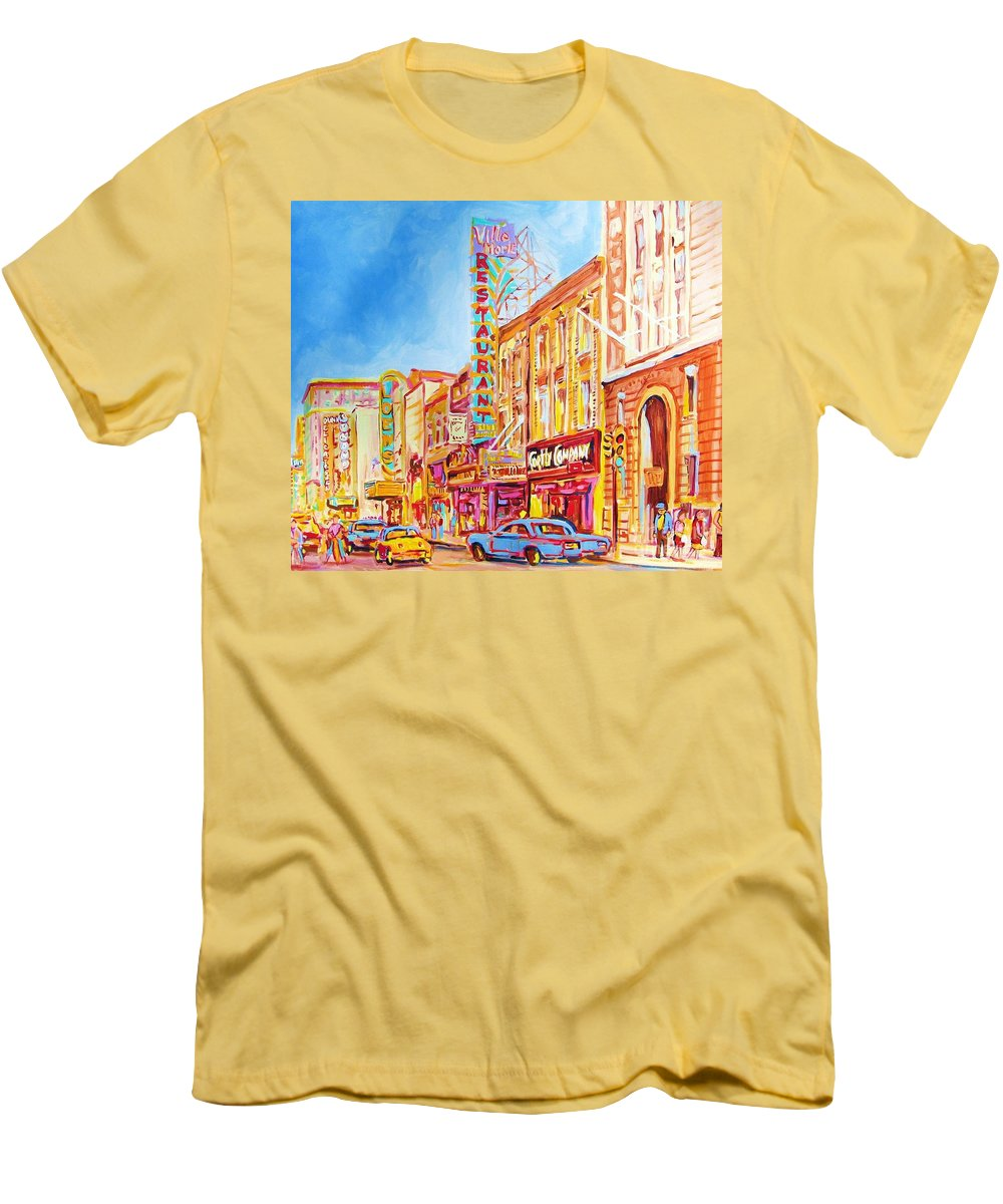 Paintings Of Montreal Men's T-Shirt (Athletic Fit) featuring the painting Saint Catherine Street Montreal by Carole Spandau