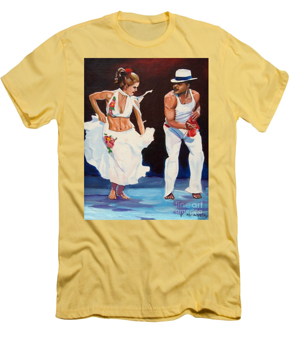 Dancing Men's T-Shirt (Athletic Fit) featuring the painting Salsa by Jose Manuel Abraham