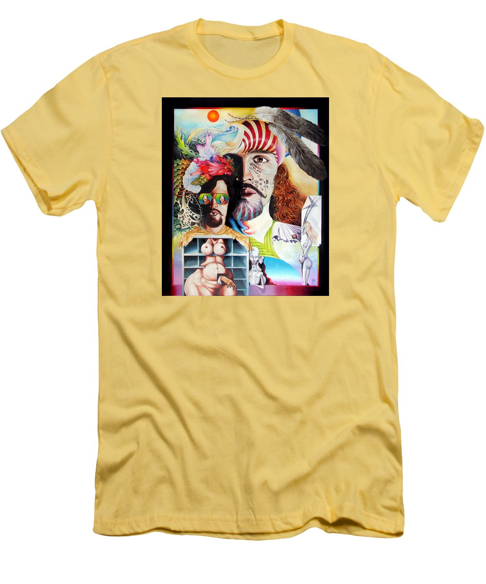 Surrealism Men's T-Shirt (Athletic Fit) featuring the painting Selfportrait With The Critical Eye by Otto Rapp
