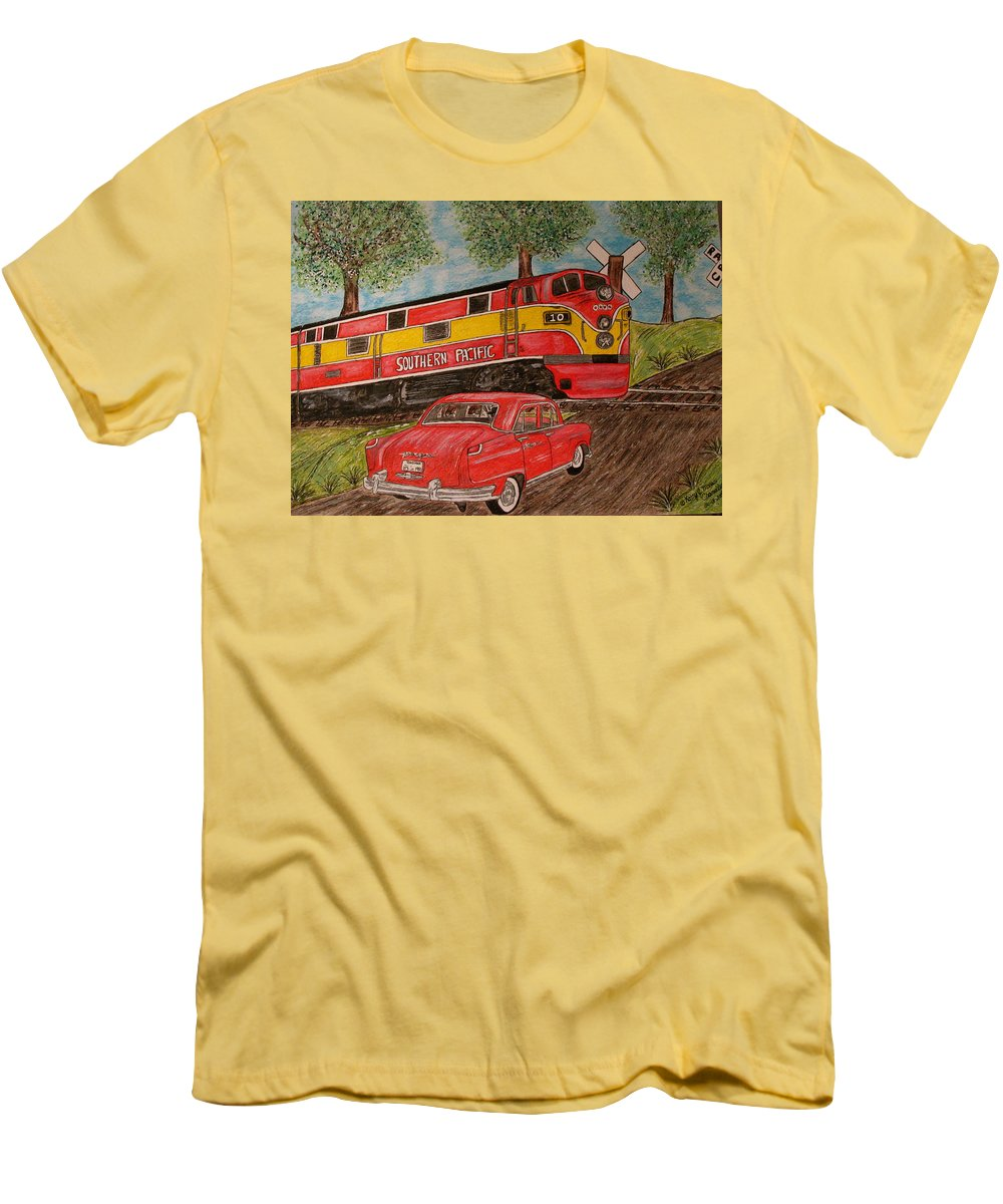 Southern Pacific Railroad Men's T-Shirt (Athletic Fit) featuring the painting Southern Pacific Train 1951 Kaiser Frazer Car Rr Crossing by Kathy Marrs Chandler