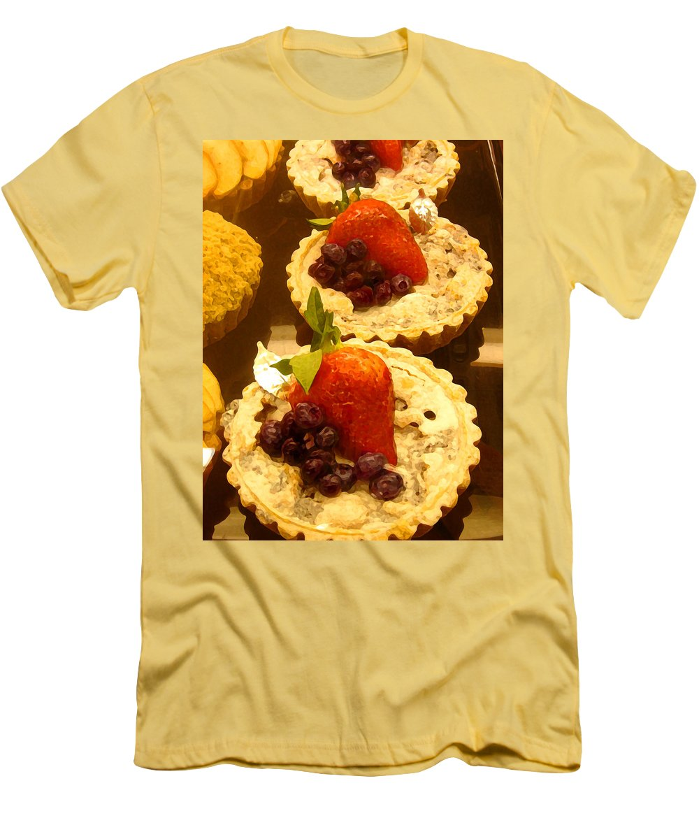 Food Men's T-Shirt (Athletic Fit) featuring the painting Strawberry Blueberry Tarts by Amy Vangsgard