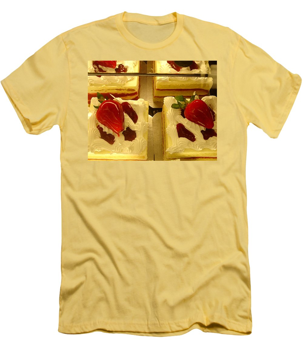 Kitchen Men's T-Shirt (Athletic Fit) featuring the painting Strawberry Cakes by Amy Vangsgard