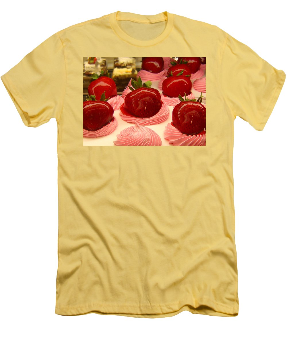 Food Men's T-Shirt (Athletic Fit) featuring the painting Strawberry Mousse by Amy Vangsgard
