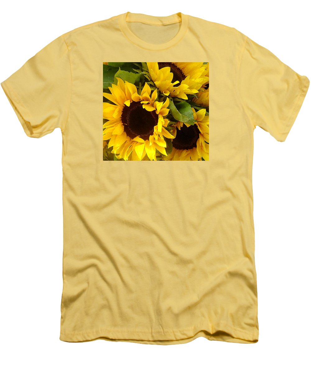 Sunflowers Men's T-Shirt (Athletic Fit) featuring the painting Sunflowers by Amy Vangsgard