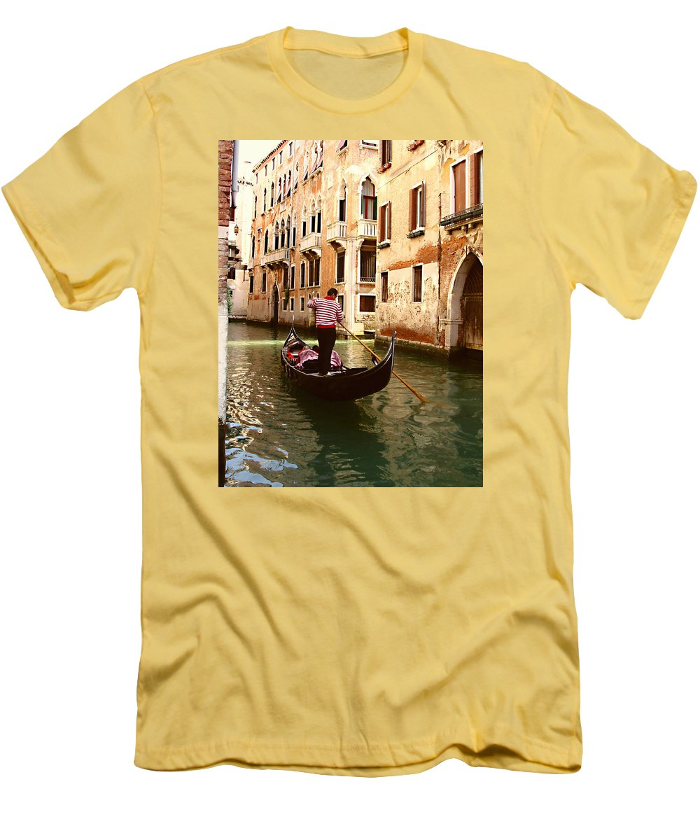 The Gondolier Men's T-Shirt (Athletic Fit) featuring the photograph The Gondolier by Ellen Henneke
