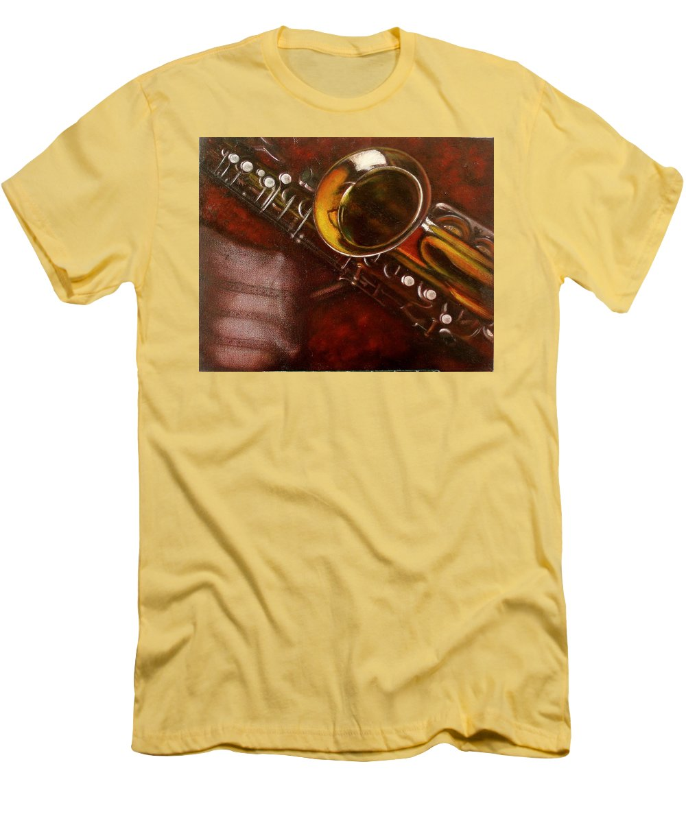 Still Life Men's T-Shirt (Athletic Fit) featuring the painting Unprotected Sax by Sean Connolly