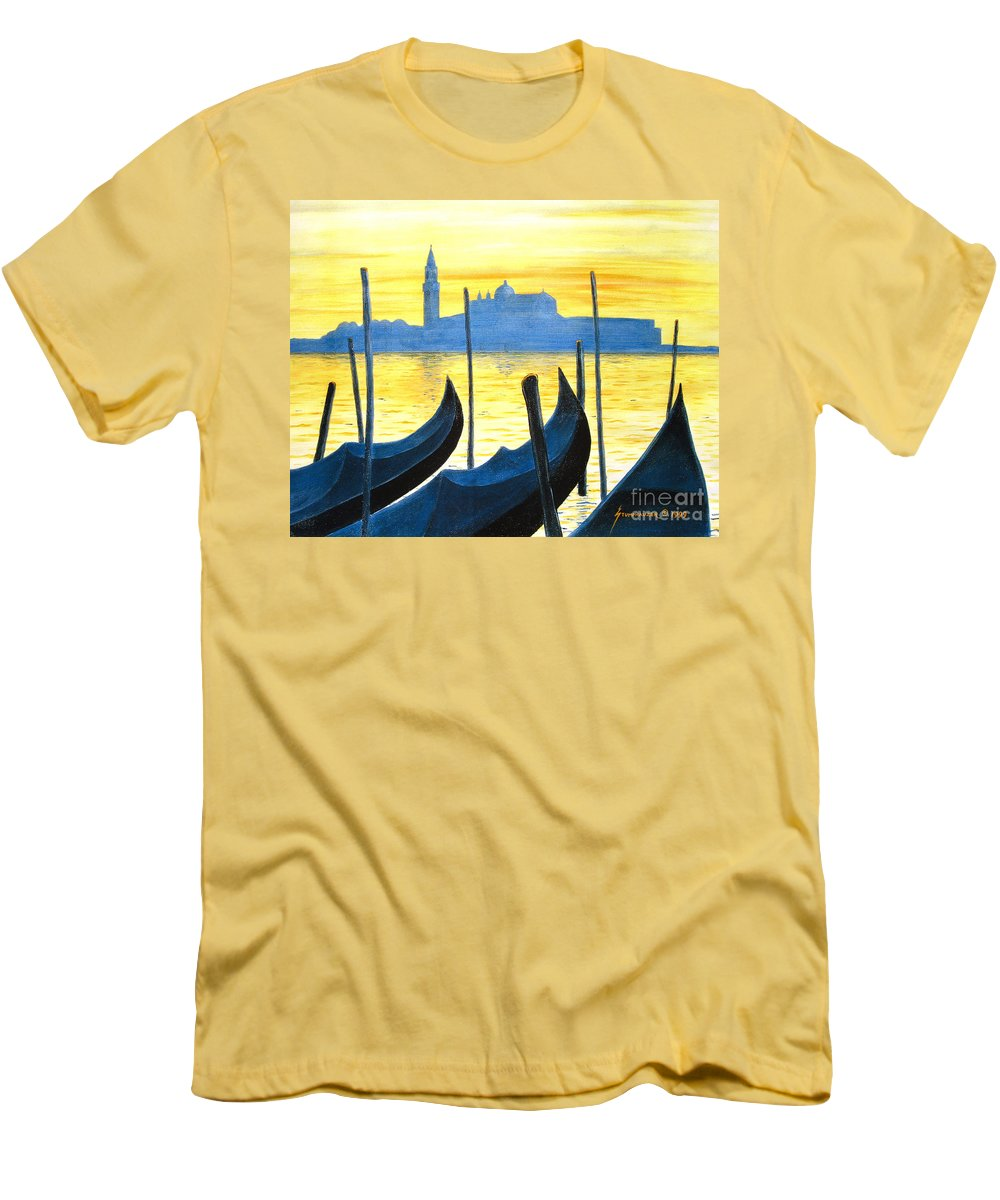 Venice Men's T-Shirt (Athletic Fit) featuring the painting Venezia Venice Italy by Jerome Stumphauzer