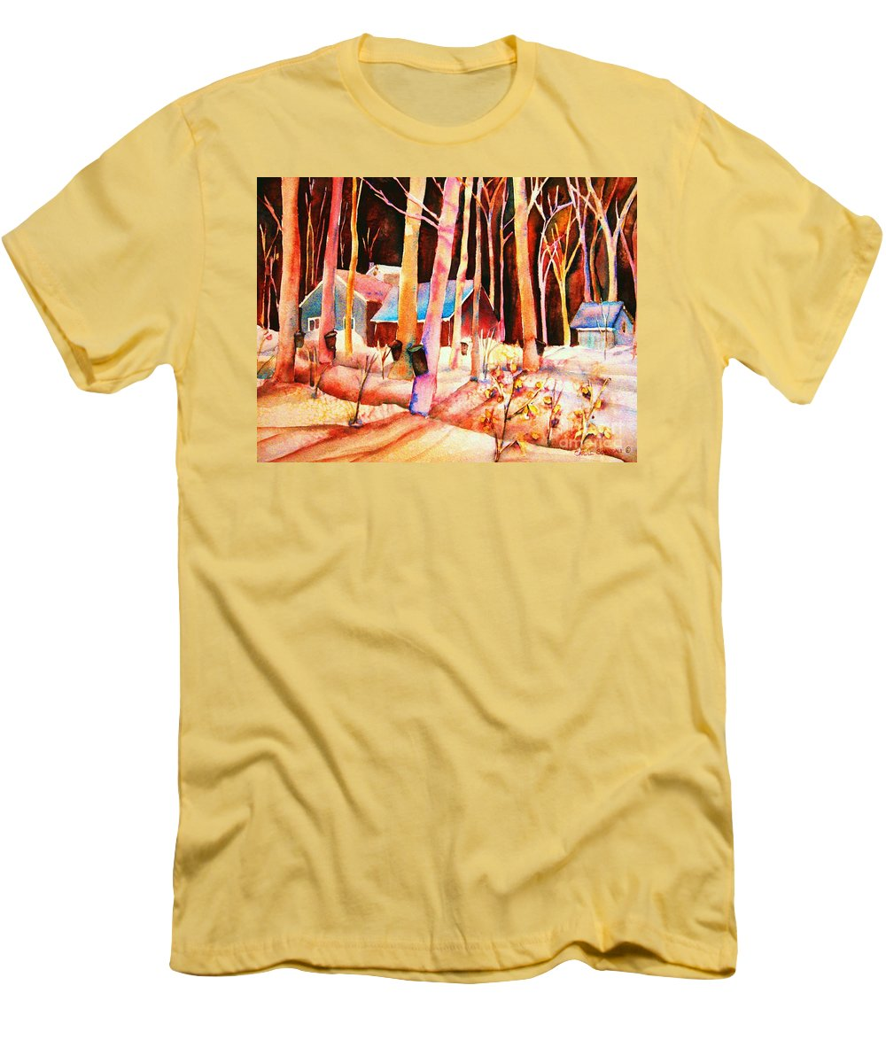 Montreal Men's T-Shirt (Athletic Fit) featuring the painting Vermont Maple Syrup by Carole Spandau