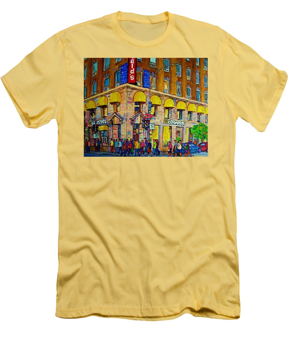 Mcdonald Restaurant Montreal Men's T-Shirt (Athletic Fit) featuring the painting Mcdonald by Carole Spandau