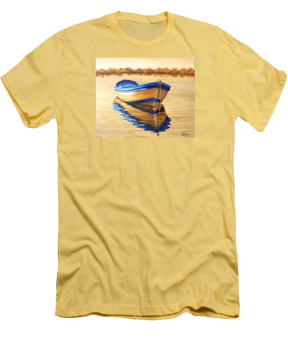 Still Life Men's T-Shirt (Athletic Fit) featuring the painting Lake by Natalia Tejera