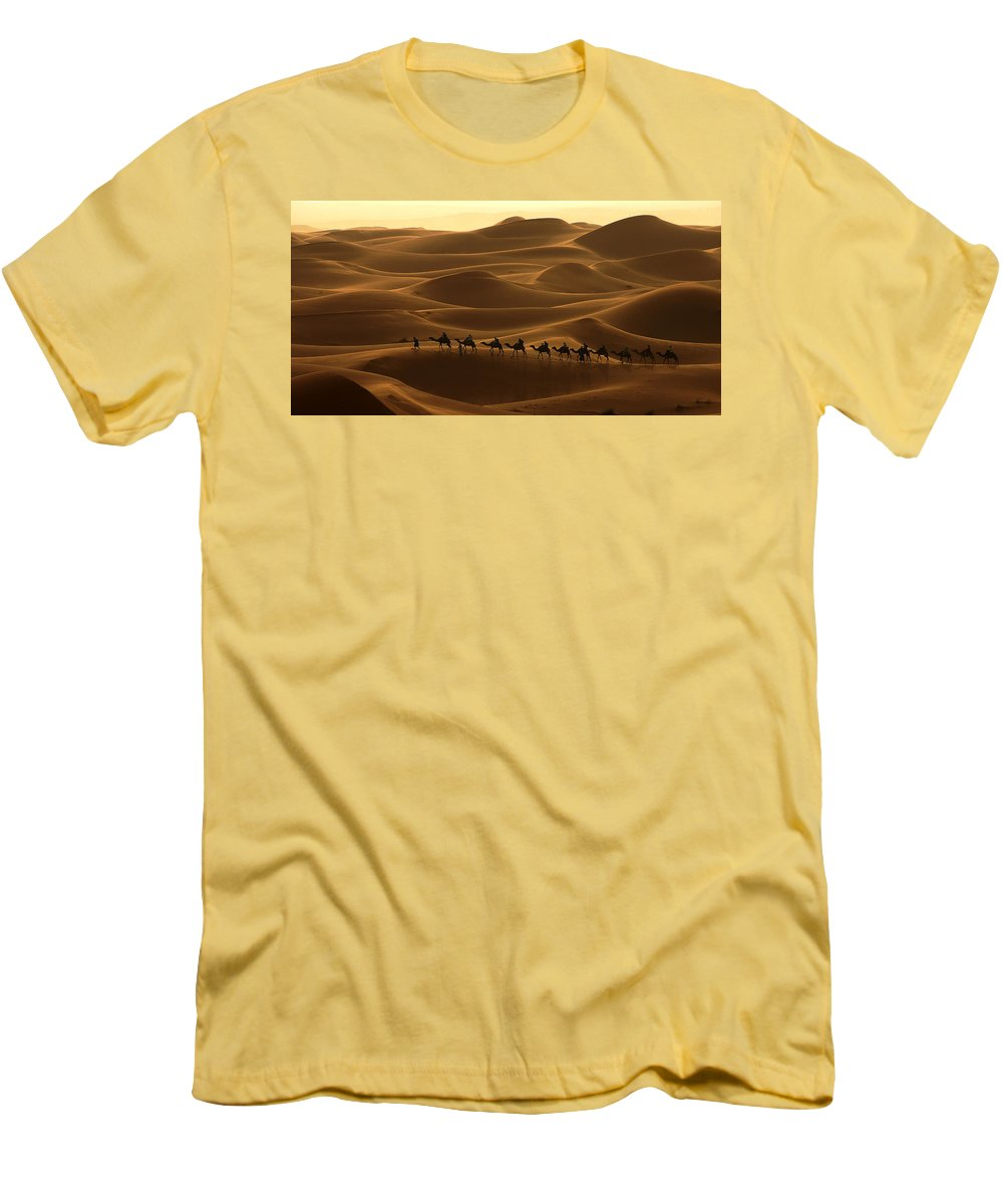 Camel Men's T-Shirt (Athletic Fit) featuring the photograph Camel Caravan In The Erg Chebbi Southern Morocco by Ralph A Ledergerber-Photography