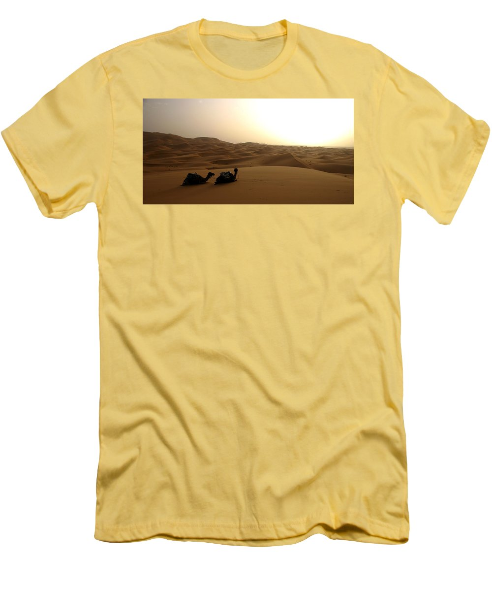 Camel Men's T-Shirt (Athletic Fit) featuring the photograph Two Camels At Sunset In The Desert by Ralph A Ledergerber-Photography