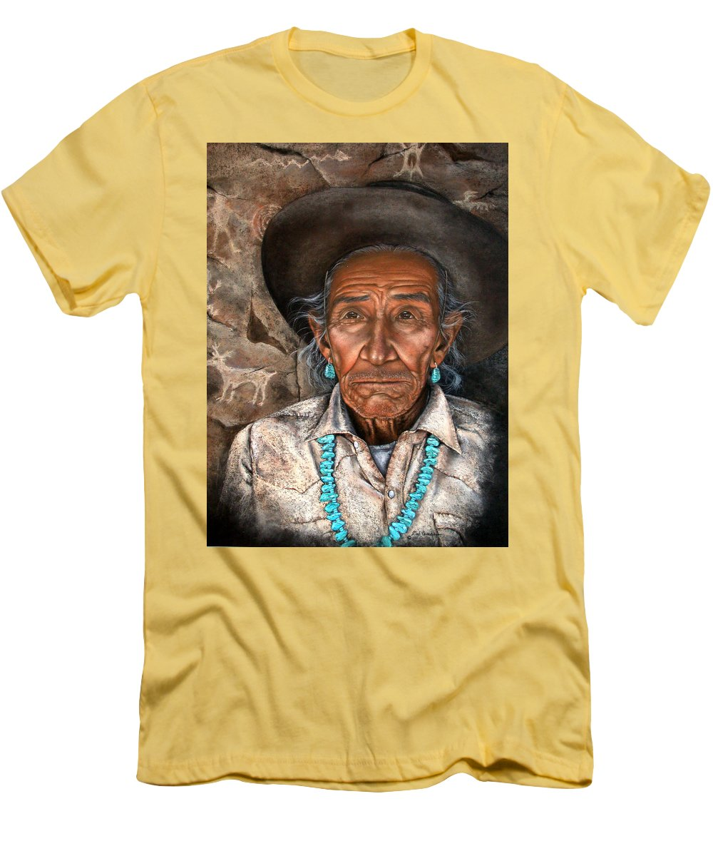 People Men's T-Shirt (Athletic Fit) featuring the painting Vision Of The Past by Deb Owens-Lowe