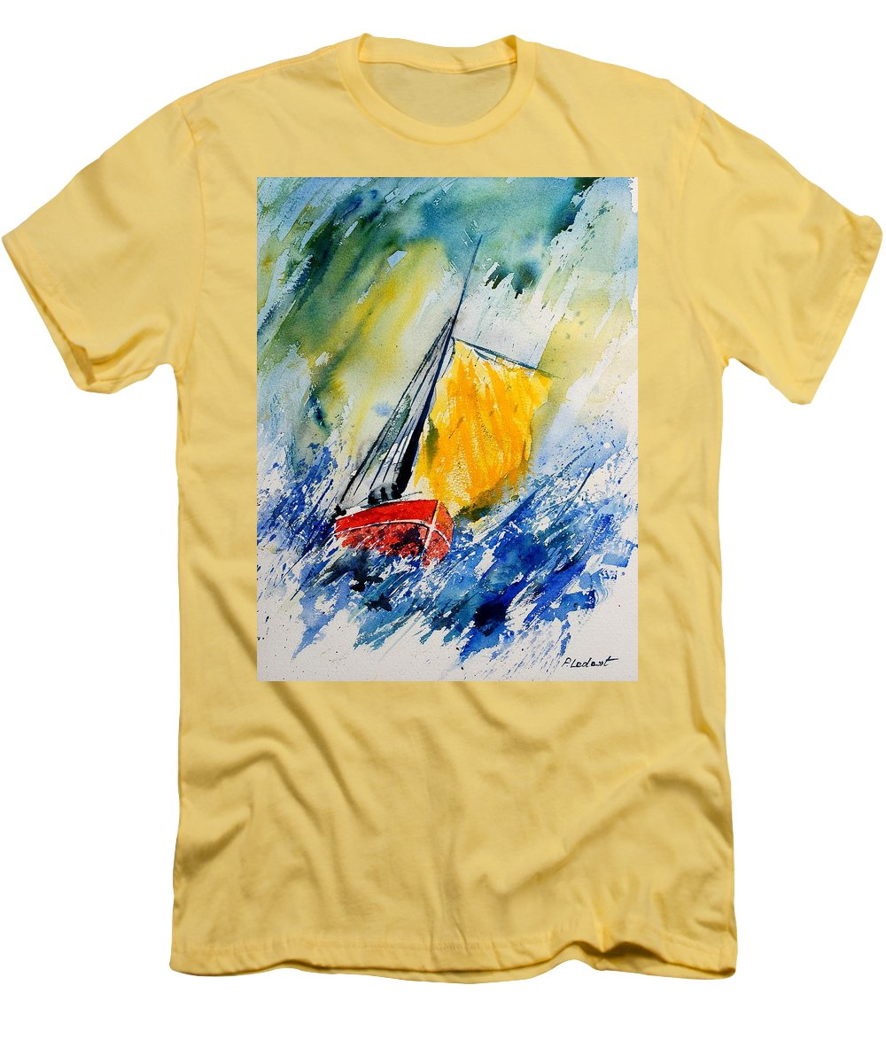 Sea Men's T-Shirt (Athletic Fit) featuring the painting Watercolor 280308 by Pol Ledent