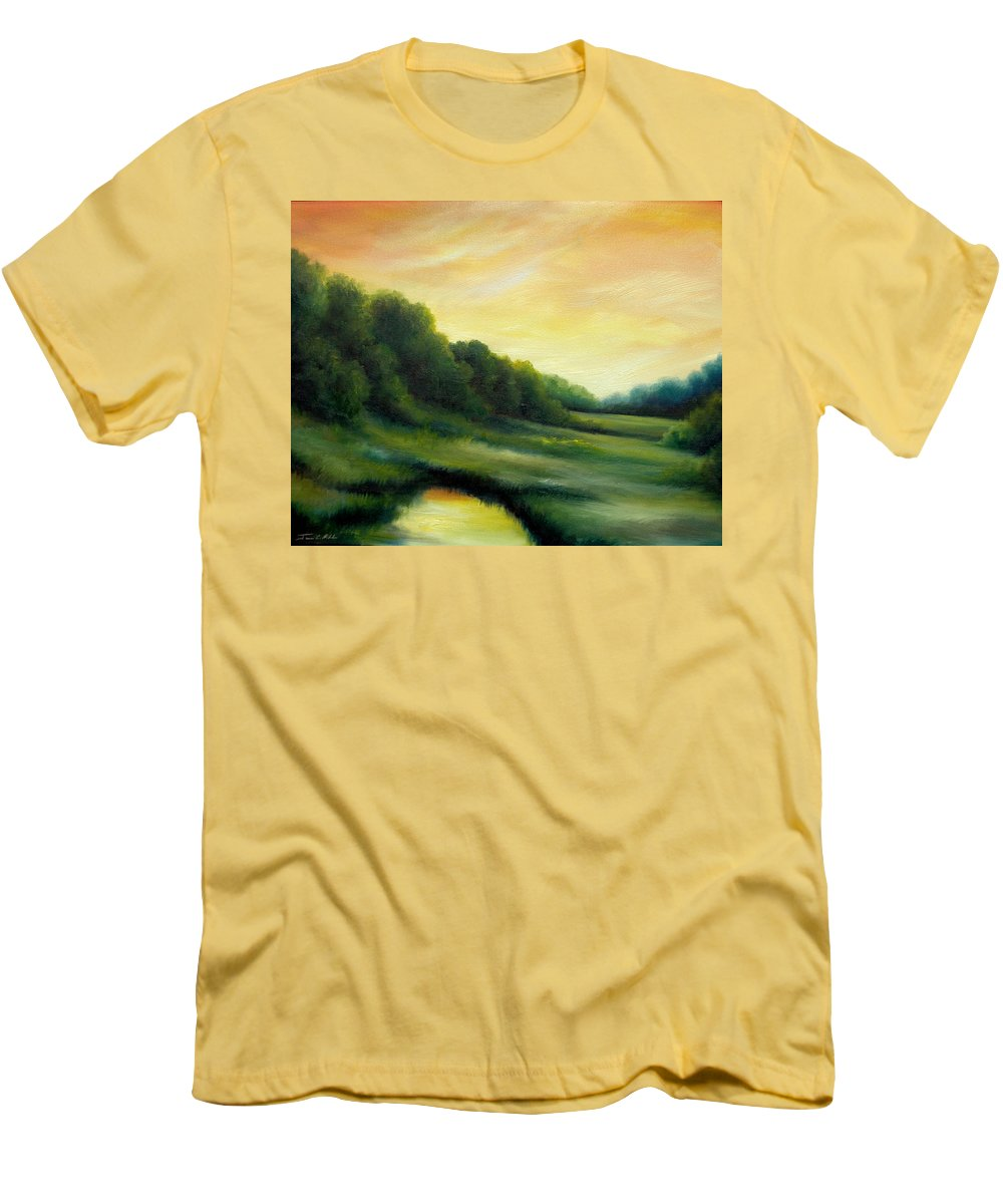 Clouds Men's T-Shirt (Athletic Fit) featuring the painting A Spring Evening Part Two by James Christopher Hill