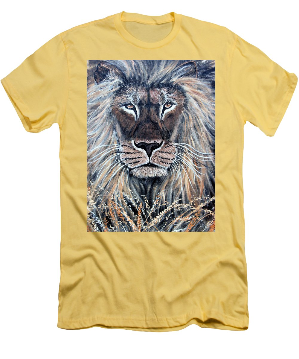 Lion Men's T-Shirt (Athletic Fit) featuring the painting African Lion by Nick Gustafson