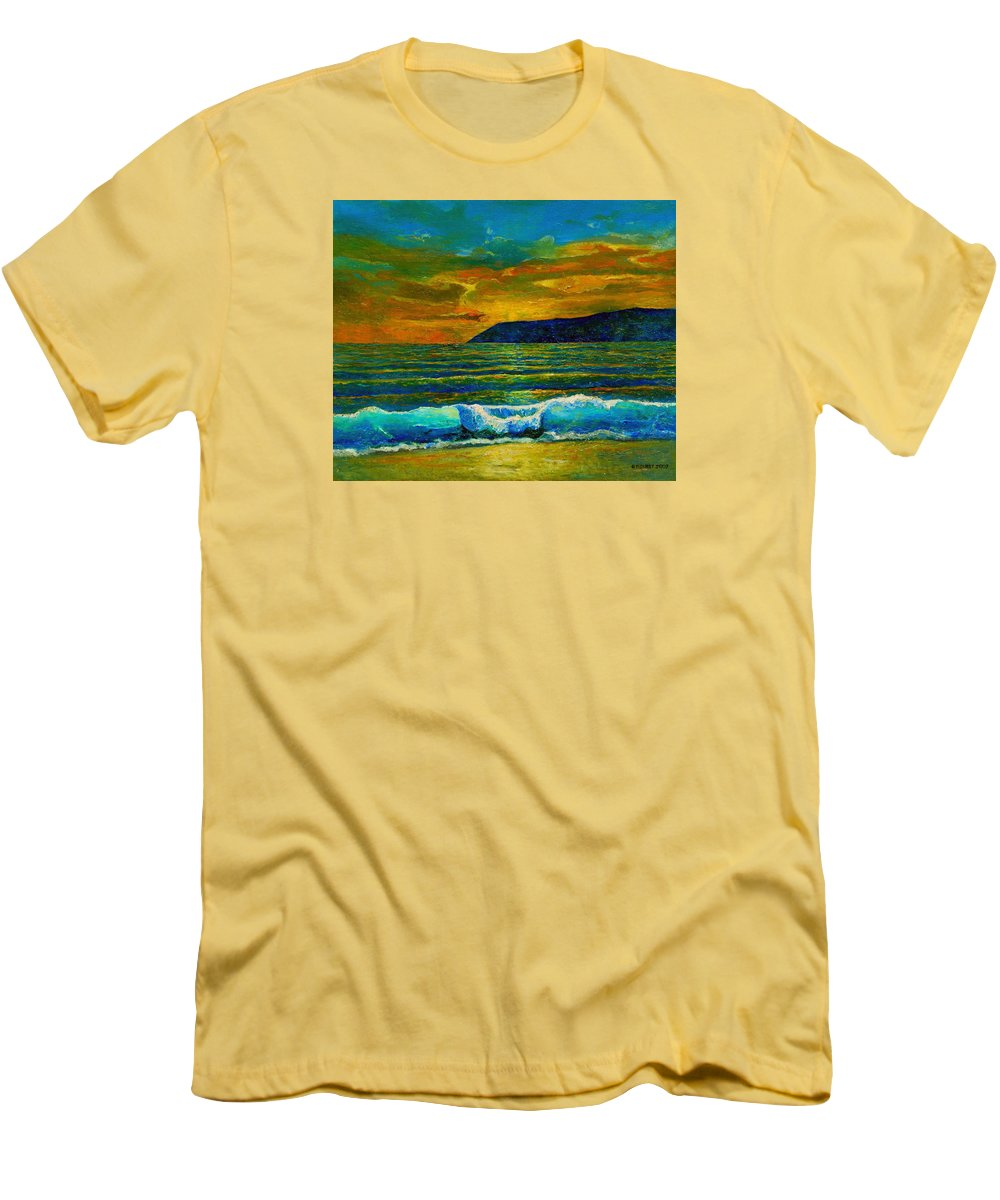 Seascape Men's T-Shirt (Athletic Fit) featuring the painting Along The African Coast by Michael Durst