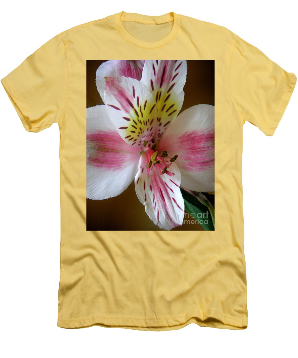 Nature Men's T-Shirt (Athletic Fit) featuring the photograph Alstroemerias - Close by Lucyna A M Green