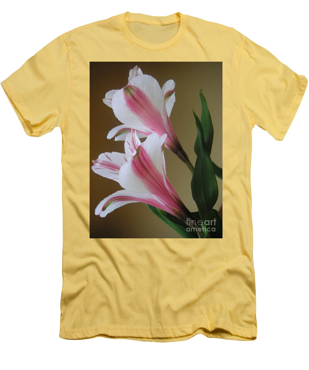 Nature Men's T-Shirt (Athletic Fit) featuring the photograph Alstroemerias - Doubled by Lucyna A M Green