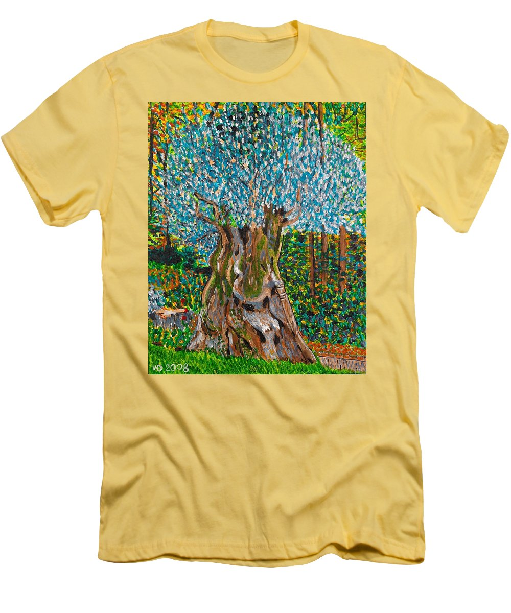 Olive Men's T-Shirt (Athletic Fit) featuring the painting Ancient Olive Tree by Valerie Ornstein