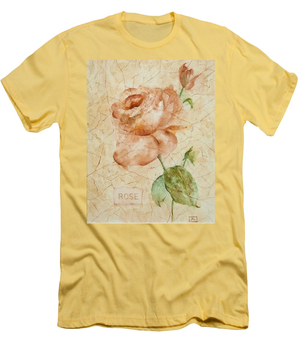 Rose Men's T-Shirt (Athletic Fit) featuring the painting Antique Rose by Debbie Lewis