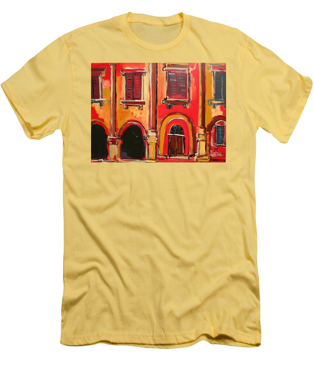 Tuscany Men's T-Shirt (Athletic Fit) featuring the painting Arco Di Firenze by Kurt Hausmann