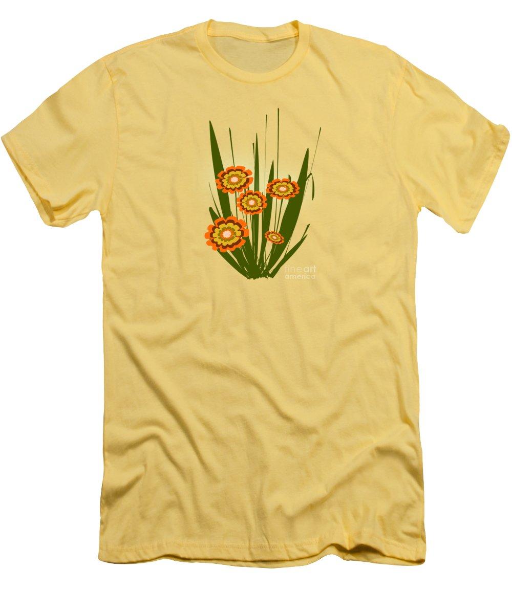 Malakhova Men's T-Shirt (Athletic Fit) featuring the digital art Orange Flowers by Anastasiya Malakhova