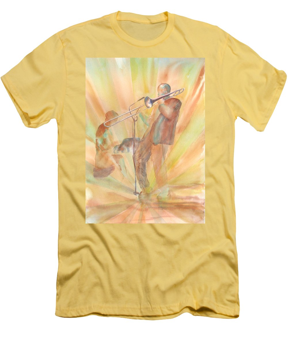 Watercolor Men's T-Shirt (Athletic Fit) featuring the painting At One With The Music by Debbie Lewis