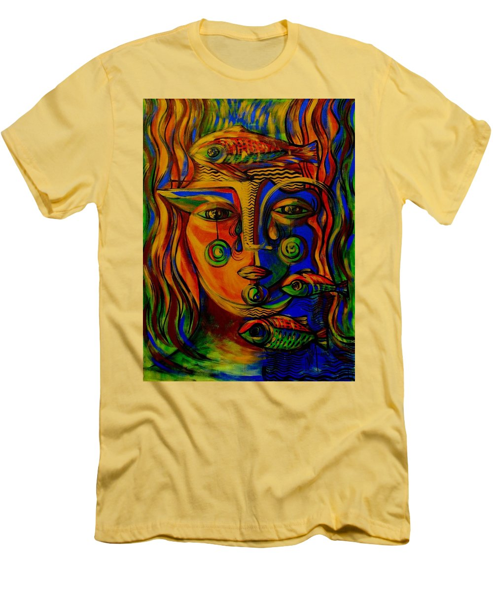 Inga Vereshchagina Men's T-Shirt (Athletic Fit) featuring the painting Autumn Tears by Inga Vereshchagina